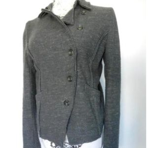 Free People Gray Flecked Asymetrical Jacket  M